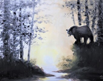 Black Bear wildlife animal, 24x36 (61 x 92 cm) oils on canvas by RUSTY RUST / B-117