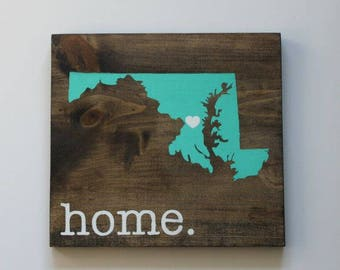 Wood Sign Maryland State Silhouette Custom Sign