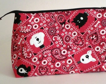 RED BANDANA PUPPIES 100% cotton fabric Cosmetic Bag, gift bag with full width opening and nylon zipper closure