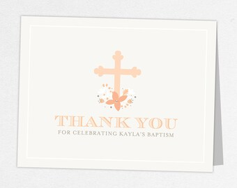 Baptism Thank You Card, Religious Thank You Card, Baby Thank You, Printable Thank You, Printed Thank You Cards, Cross, Floral, Peach, Kayla