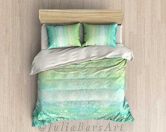 Duvet Cover, Comforter, Turquoise Mint Green Aqua Comforter Cover, Abstract Bedding, Pillow Shams, Bed Cover, Bedroom Decor, King Queen Twin