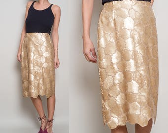1980s// KRIZIA// Golden Sequin// Scallop hem// Pencil Skirt// L