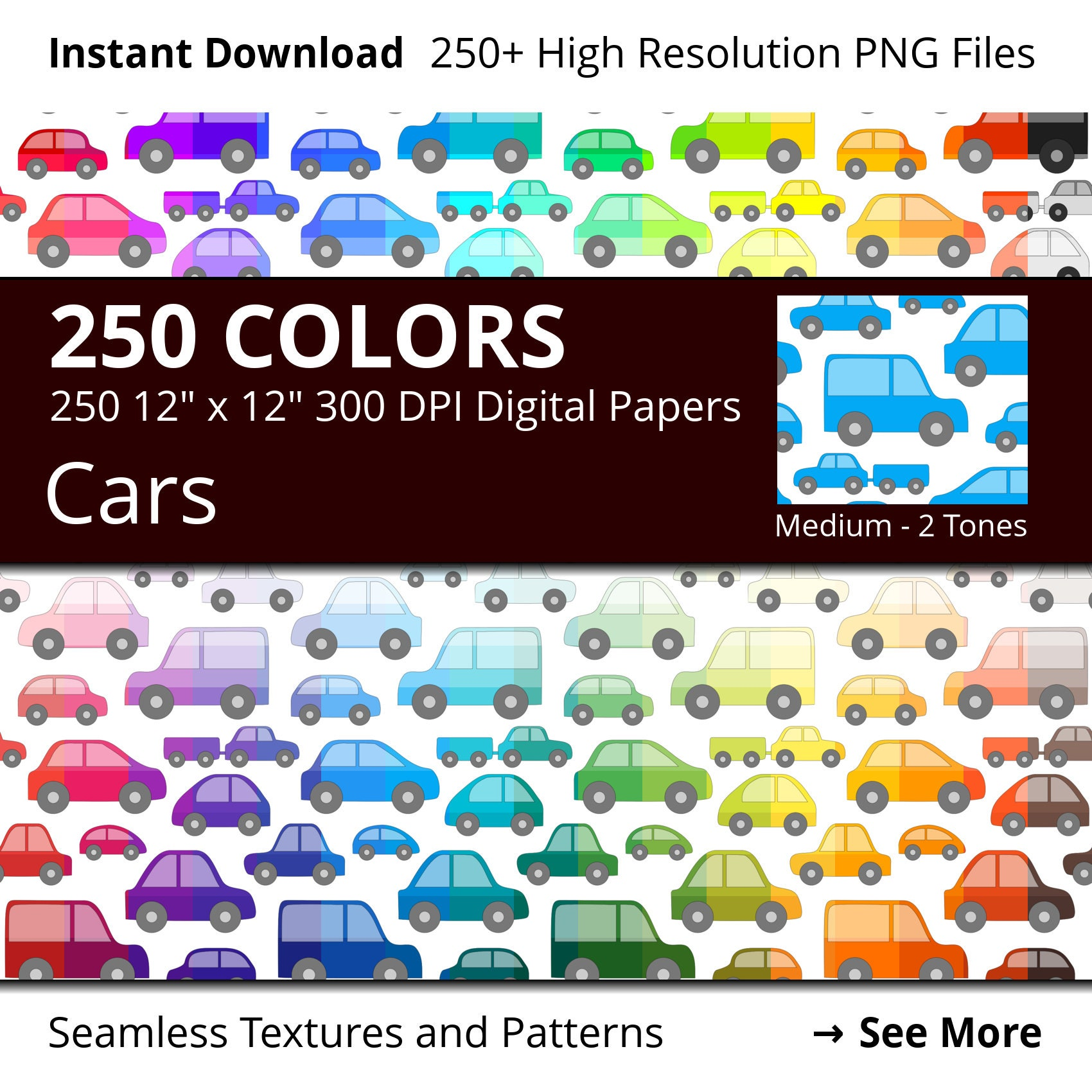 250 Cars Digital Paper Pack, 250 Colors Vehicles Digital Paper