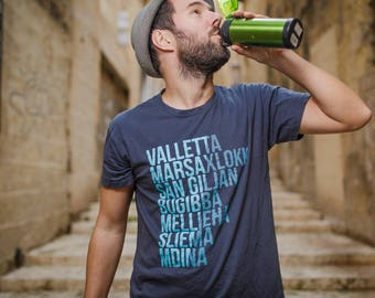Maltese CITIES T-Shirt for men // Malta Souvenir or Gift // Typography // Valletta, Marsaxlokk, St Julians, Bugibba, Mellieha, Sliema, Mdina