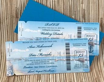San Diego Wedding Invitation. California yacht wedding. Newport Hornblower boarding pass invitation.