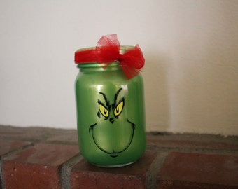Grinch inspired Lantern, 16oz, pint size mason jars, tea light included