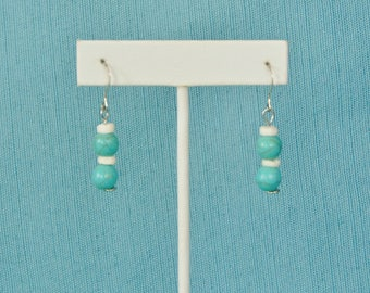 Turquoise and Mother of Pearl Shell .925 Sterling Silver Earrings Set