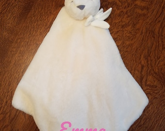 Stuffed Animal Security Blanket ,baby Gift, shower gift, blanket animal lovey, cream bunny lovey, plushy, security blanket, personalized