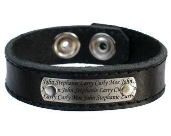 Custom Mother's Day Gift Childrens' Names Leather Bracelet Jewelry,  Child Grandchildren Mother Mom Grandmother Grandma Gramma