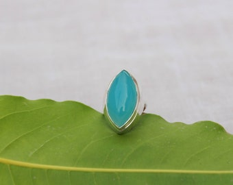 Natural Chalcedony In Handmade Sterling Silver Ring 92.5 Sterling Silver Ring