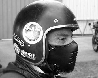 Biker mask FLAT 70 BLACK/motorcycle mask/ leather mask/cafe racer mask/bobber mask/bratstyle mask/leather mask/vintage mask/Boken.