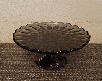 Mid Century Anchor Hocking Fairfield Smoke Gray Glass Pedestal Cake Plate/Stand