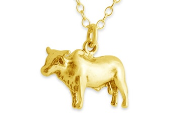 Solid 3D Bull Ox Calf Bullock Male Animal Taurus Zodiac Sign Charm Pendant Necklace #14K Gold Plated over 925 Sterling Silver #Azaggi N0107G