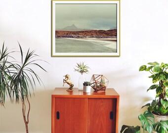 Atlantic Ocean, Beach Photography, Nautical Decor, Landscape Photography, Beach Decor, Scotland Achnahaird Beach Mountains, Blue Wall Decor
