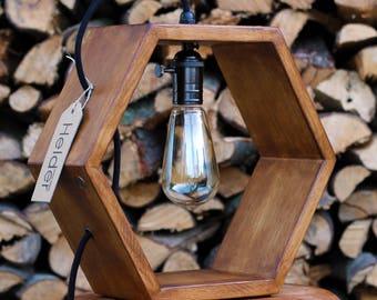 Hexagon design table lamp with Edison bulb - 'HELDER' - Dutch design