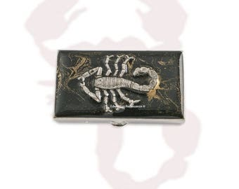 Scorpio Metal Pill Box Inlaid in Hand Painted Enamel Zodiac Inspired Pill Case with Personalized and Color Options