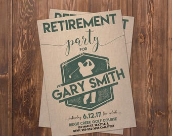 Golf Retirement Invitation | Retirement Invite | Golfing Invitation |  Men's Retirement Party | Birdies and Beers | Swing On By to Celebrate
