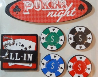 ME and MY BIG Ideas Soft Spoken Dimensional Stickers - Scrapbook Embellishment - Poker Night