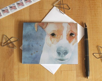 Parson Jack Russell Terrier Note Card Blank Dog Watercolor Notecard Animal Lover Thank You Birthday Greeting Card Invitation All Occasion K9