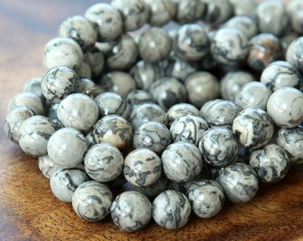 Natural Scenery Jasper Beads, 8mm Round - 15 inch Strand - eGR-JA009-8