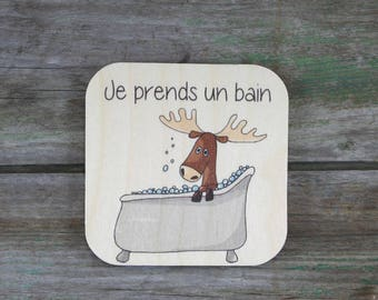 """Symbol """"I take a bath,"""" wooden - Daily Routine - 3 to 5 years"""