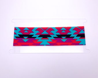 "Less Wide (2 1/4"") Bright Aztec Print Headband - Yoga Headband - Women's Headband"