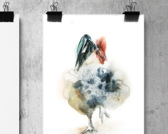 Rooster Art Print, Watercolor Painting Print of Rooster, Colorful Rooster Giclee Wall Art Print
