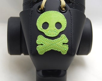 Leather Toe Guards with Lime Green Skulls and Crossbones
