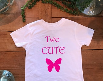 """Toddler Top/Tee, """"Two Cute w/Butterfly"""" Girls Fine Toddler Jersey, ThinkApparelCo"""