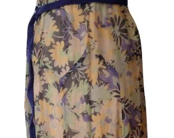 1930s Dress Floral Print Chiffon Summer Dress Sheer Capelet Sleeve Garden Party