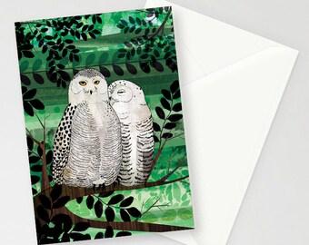 Snowy Owl Couple A6 Greetings Card