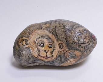 Stone painting- Mother and son