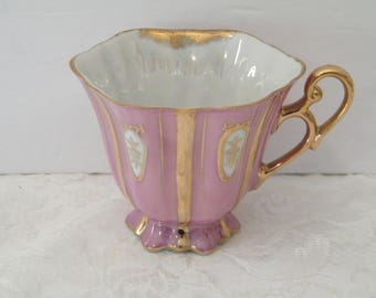 Purple Footed Cup iridescent pearl brushed gold accent, Vintage single lavender teacup golden roses in white ovals, orphaned porcelain