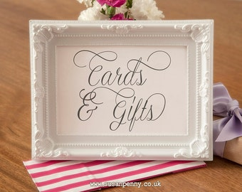 Wedding Cards and Gifts Sign - Wedding Black and White Sign - Gift Table Signage - Wedding Reception Table Sign  (Without Frame) WED007