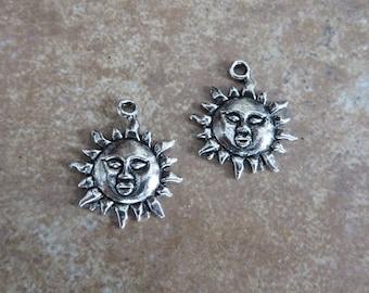 6 Unique Sun with Face Charms Celestial Atq Silver Tone Solar Sun God  Suns Charm Jewelry 23x19.5 mm
