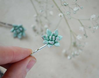 Succulent Jewelry Succulent hair pins Succulent hair piece Floral hair pins  Succulent gifts Polymer clay jewelry