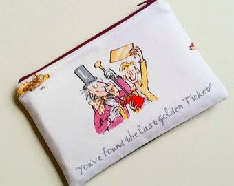 Willy Wonka Charlie Chocolate Factory Roald Dahl books reading inspired purse clutch