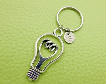 Light Bulb initial Keychain personnalized stainless steel monogram Keyring