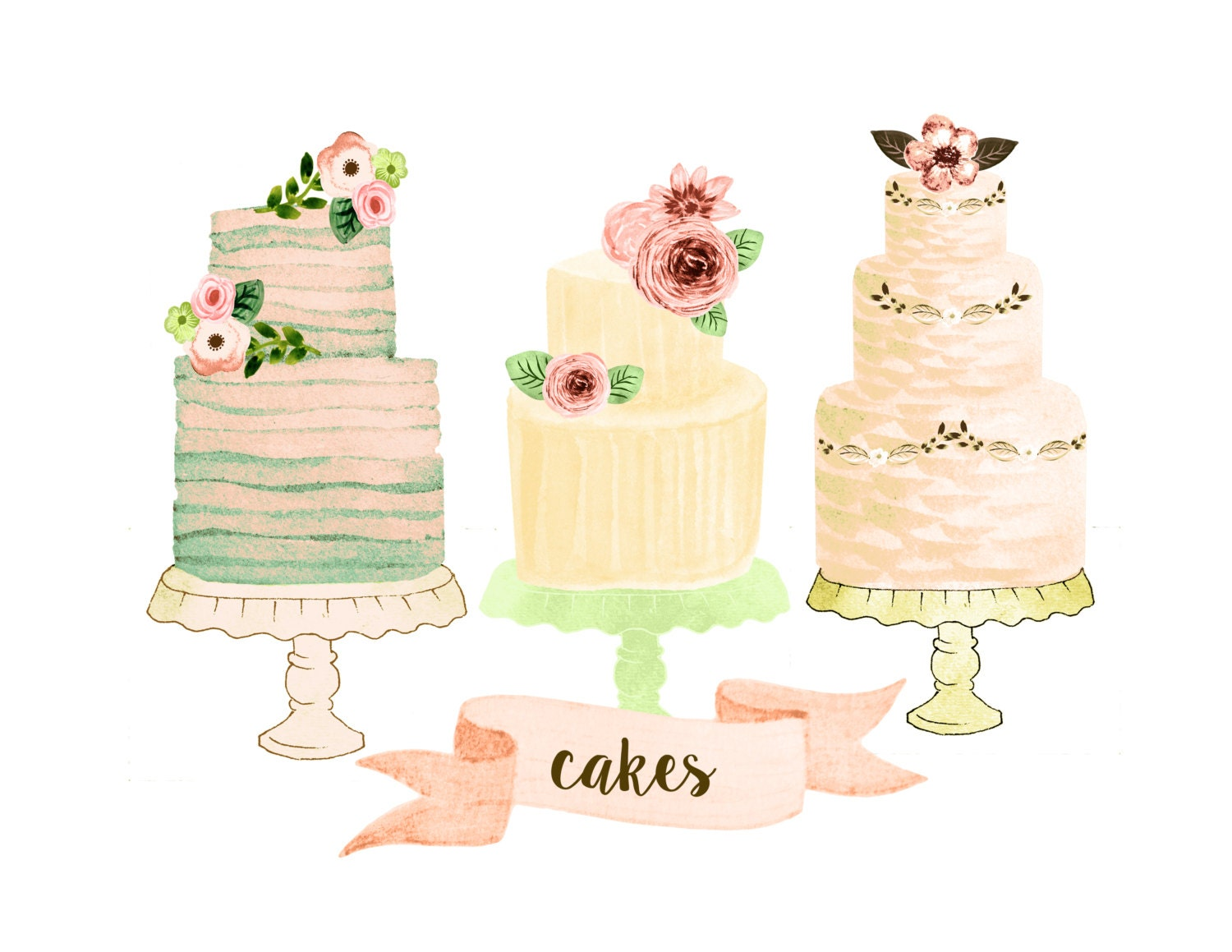 Cake clipart wedding clipart watercolor wedding clipart