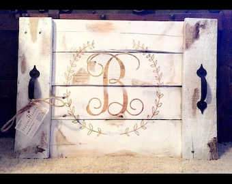 Monogram serving tray with handles, wedding gift, housewarming, anniversary, home decor, rustic, farmhouse decor, personalized, countrystyle