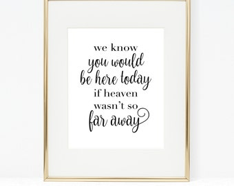 We know you would be here today if heaven wasn't so far away, 8x10 Printable wedding memorial sign, remembrance sign, Digital memory sign