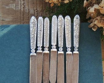 Antique 1847 Rogers Bros. Silverplate Mismatched Fruit Knives, Set of 7, Butter Knives, Flatware, Vintage Serving, Hollywood Regency