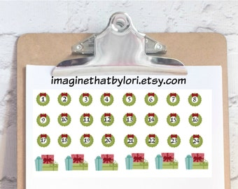 Christmas Countdown planner stickers for your Erin Condren Planner
