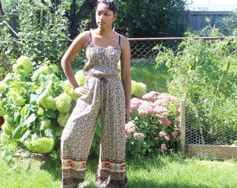 Jumpsuit Jumper Romper pant suit boho bohemian hippie gypsy ethnic floral cotton S small