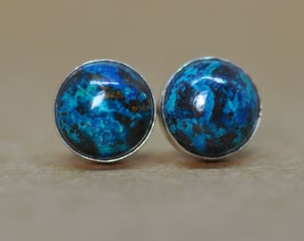 Chrysocolla Earrings, Chrysocolla studs handmade with sterling silver 8 mm diameter birthstone gemstones, the ideal gift for him or her