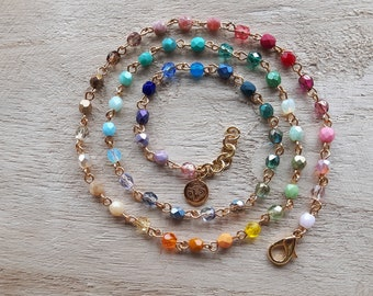 Wrap bracelet, or necklace, of glass beads