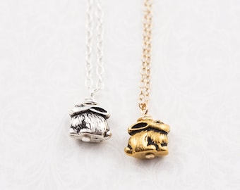 Rabbit necklace, sterling silver or gold filled chain, gift for her, rabbit jewelry, rabbit gift, minimalist jewelry, tiny bunny necklace