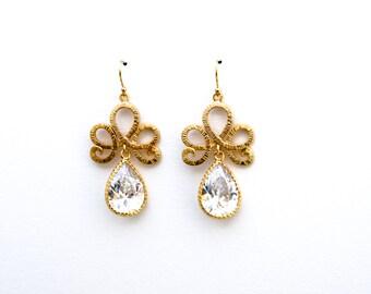 Gold Swirl Earrings with Large CZ Teardrop, Dangle Earrings, Wedding Jewelry, Mother's Day Jewelry, Bridesmaid Jewelry