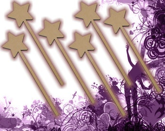 Six (6) Fairy Wands Craft Wood MDF Girls Birthday Party Favor Novelty