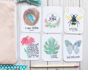Spring - Encouragement Cards, Bible Journaling, Planner Card, Gift Tags, Bloom, Find Your Wings, Flawed and Still Worthy, Kind Words, Joyful